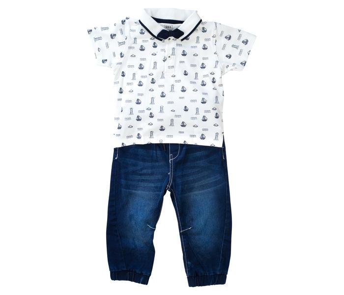 Mee Mee Kids White Polo Tee With Denim Pants