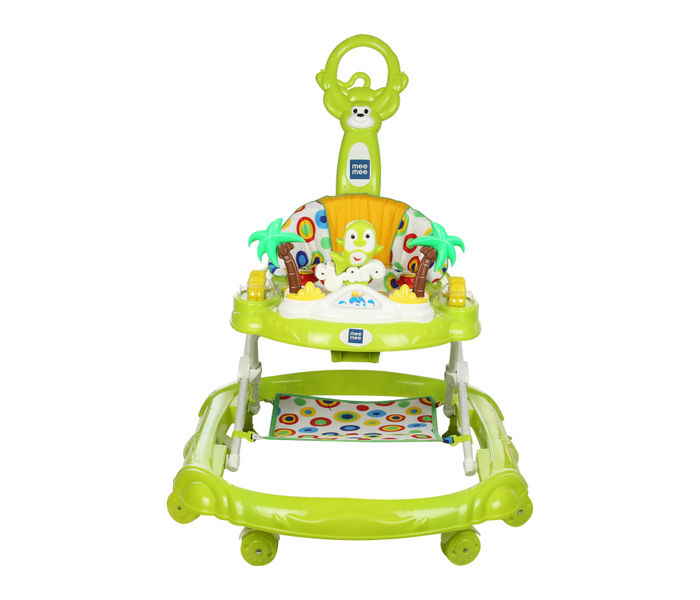 Mee Mee Simple Step Baby Walker With Push Handle, Foot Mat & Stopper (Green)