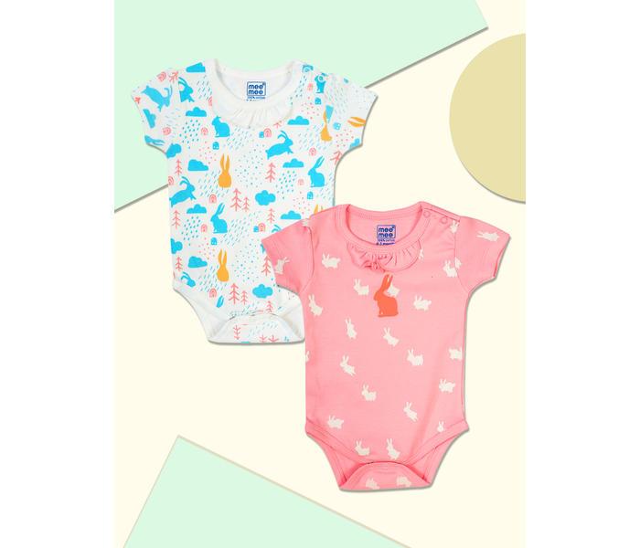 Mee Mee Kids Printed Bodysuit Pack Of 2 - White & Pink