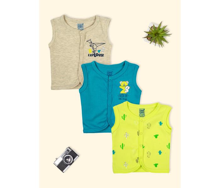 Mee Mee Sleeveless Jabla Pack Of 3 -Lime & Teal