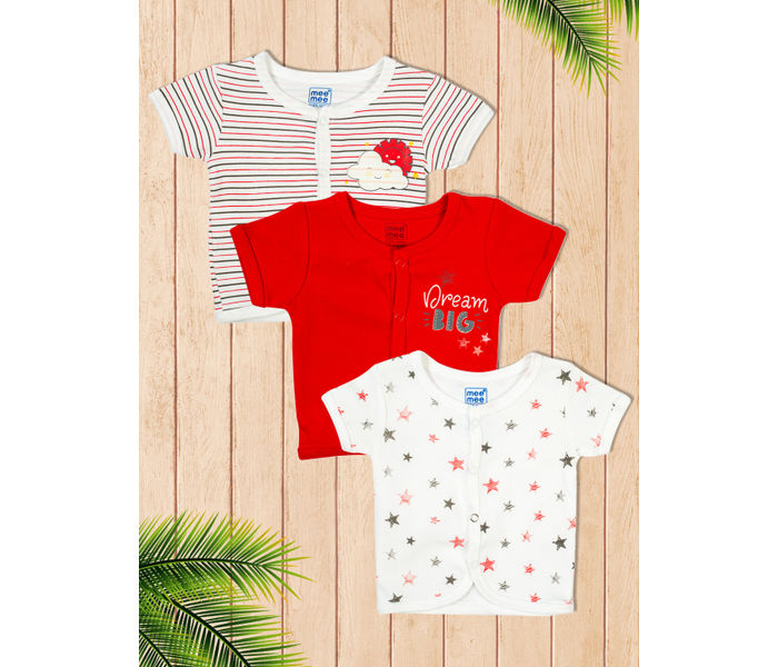 Mee Mee Short Sleeve Jabla Pack Of 3 -Red & White