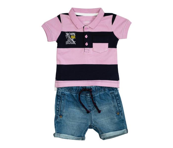 Mee Mee Kids Stripes Tee & Denim Wash Shorts Set