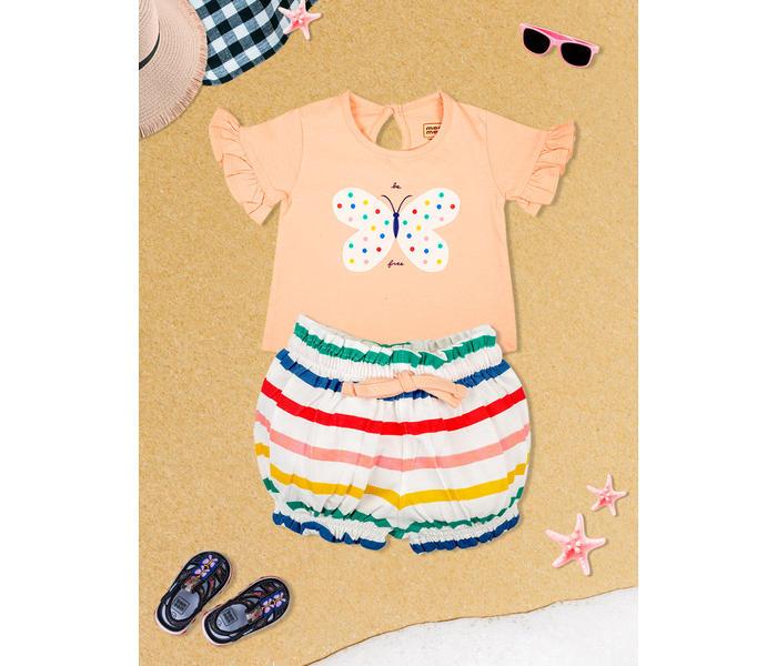 Mee Mee Girls Short Set  -Peach & Muti Stripe