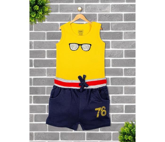 Mee Mee Short Sleeve Short Set - Yellow & Navy