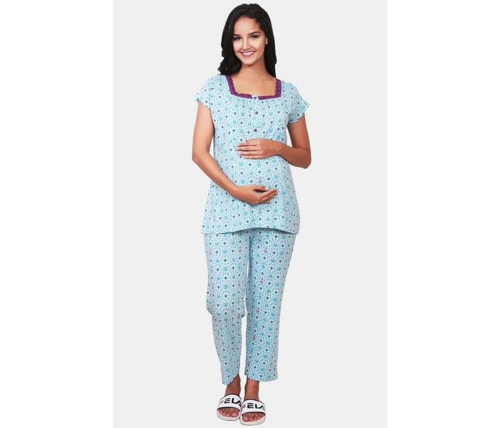 Mee Mee Blue Printed Maternity Nightsuit