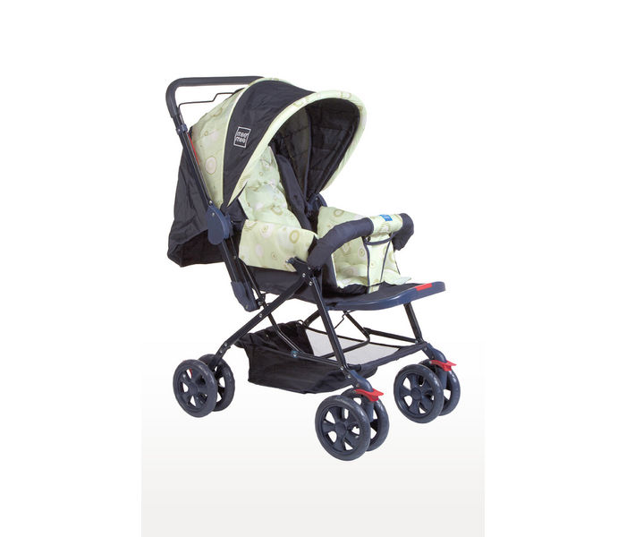 Navy Blue Baby Pram with Adjustable Seating Positions and Reversible Handle
