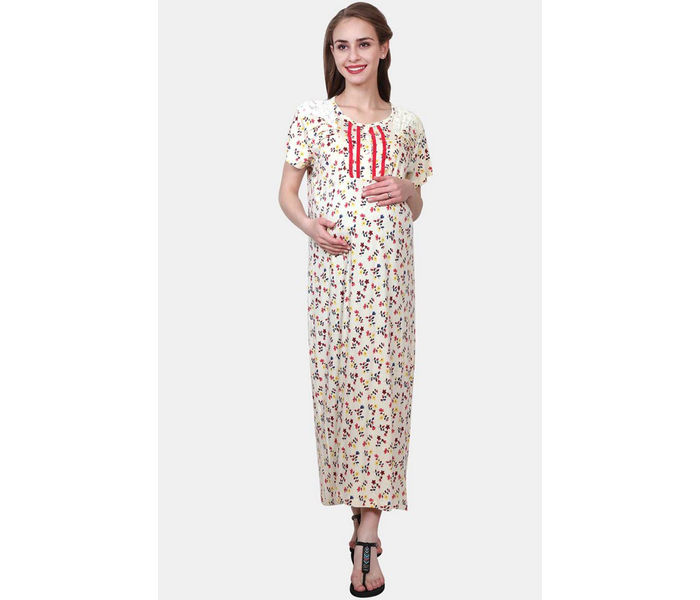 Mee Mee Cream Printed Maternity Gown