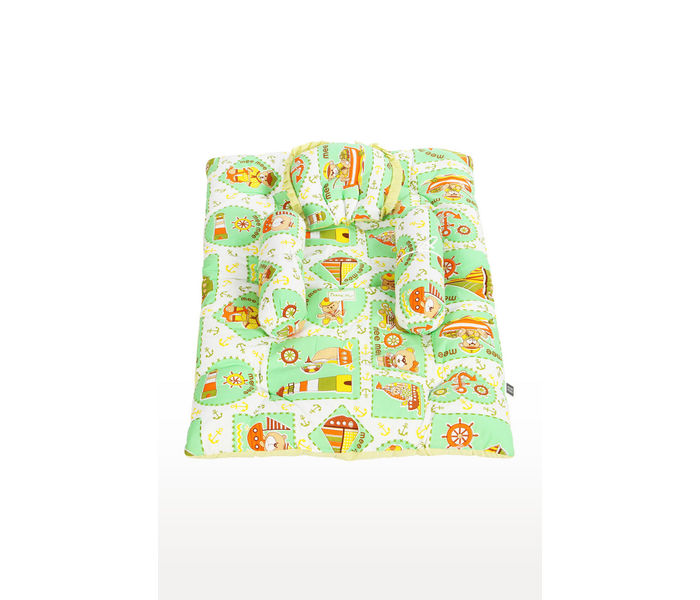 Mee Mee Baby Mattress Set with Neck Pillow and Bolsters – (Green)