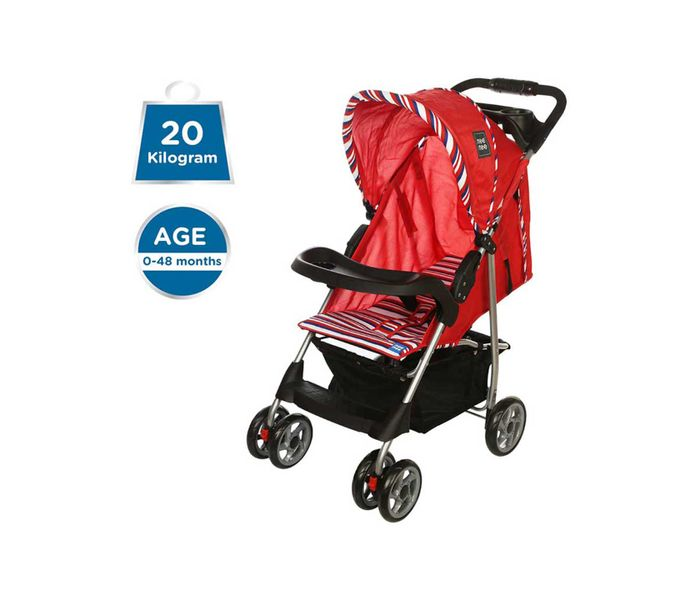 Mee Mee Compact Folding Baby Pram with Multiple Seating Position (Red)