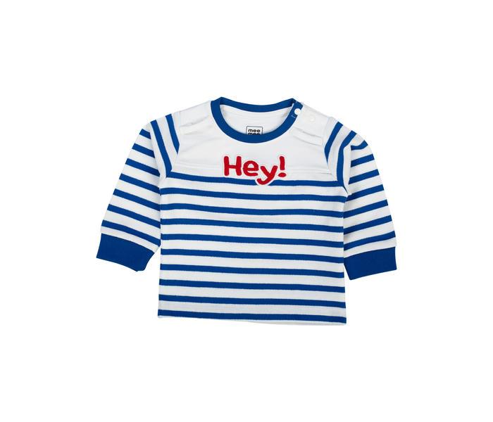 Mee Mee Boys Full Sleeve Blue Striper T-shirt With Giraffe Applique Dungree Set