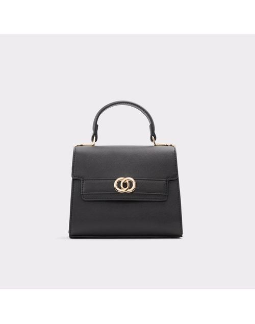 WOMEN'S SOLID BLACK HANDBAG