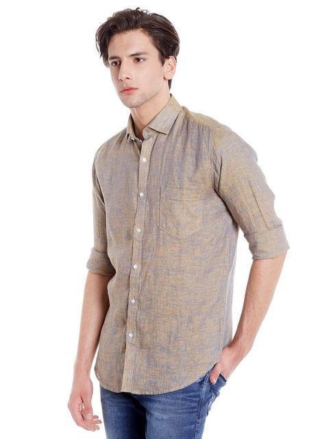 Easies Men's Slim Fit Casual Beige Shirt