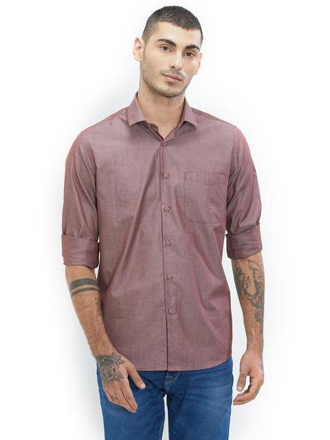 Solid Brown Color Cotton Slim Fit Shirt