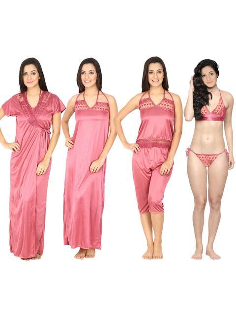 Secret Wish Women's Satin Pink Nighty, Nightdress Set Of 6 (Free Size)