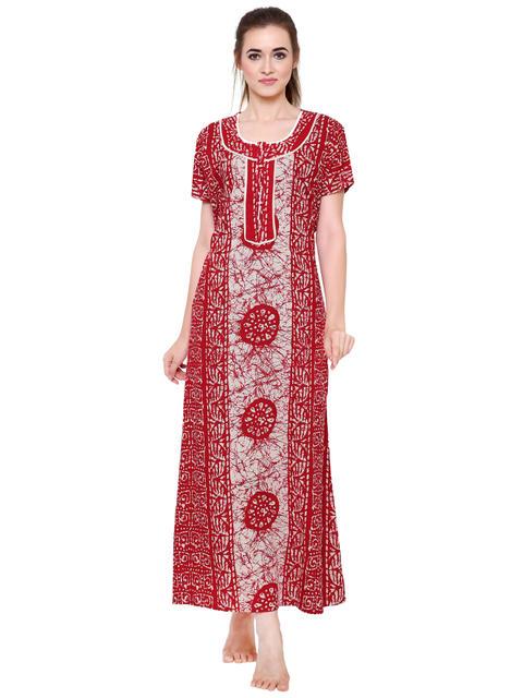 Secret Wish Women's Red Cotton Nighty