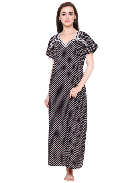 Secret Wish Women's Black Cotton Nighty