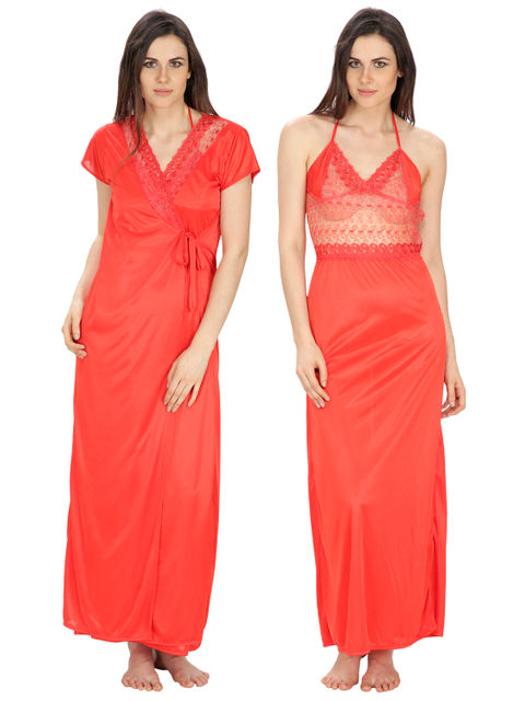 Secret Wish Women's Satin, Net Red Robe, Nighty (Red, Free Size)