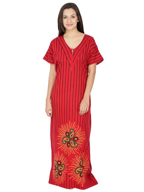 Secret Wish Women's Cotton  Nighty, Nightdress (Red, Free Size)