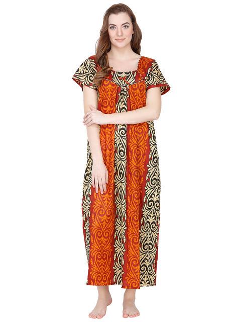 Secret Wish Cotton Orange Nighty, Nightdress