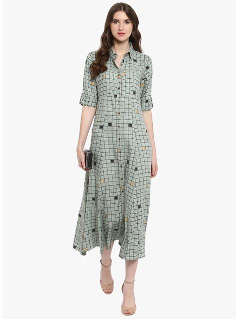 Varanga Taupe Checks Printed Flared Dress