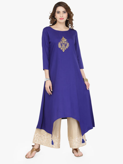 Varanga Blue Viscose Gold Zari Embroidery Kurta With Palazzo