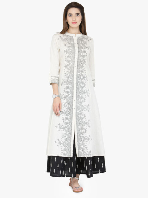 Varanga White Cotton Blend Printed Kurta