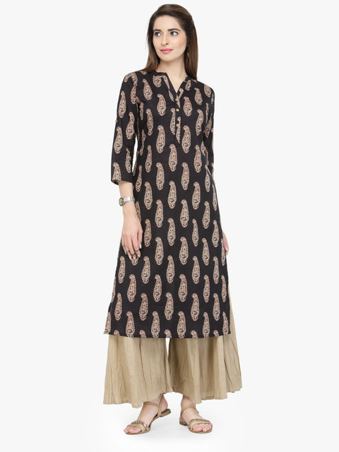 Varanga Black Pure Cotton Printed Kurta With Palazzo