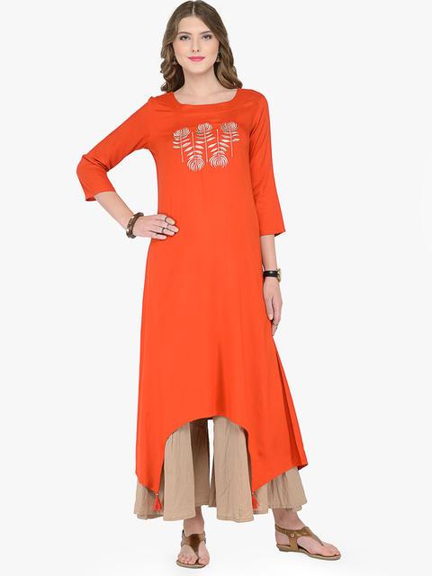 Varanga Orange Viscose Rayon Embroidery Kurta With Palazzo