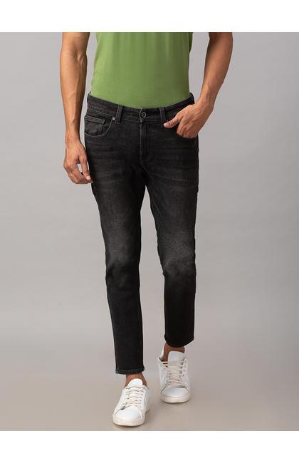 Spykar Black Cotton Mid Rise Slim Fit Tapered Leg Ankle Length Jeans (Kano)