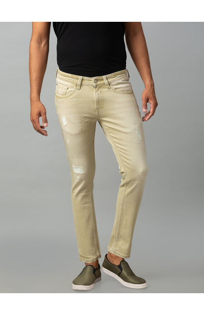 Spykar Grey Cotton Mid Rise Slim Fit Tapered Leg Ankle Length Jeans (Kano)