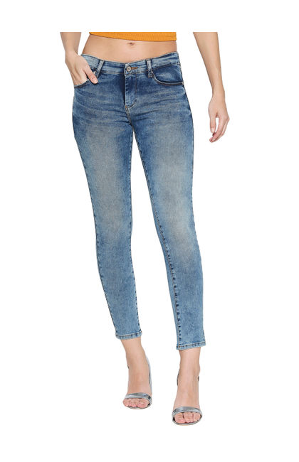 Spykar Blue Cotton Low Rise Super Skinny Ankle Length Fit Jeans (Alicia)