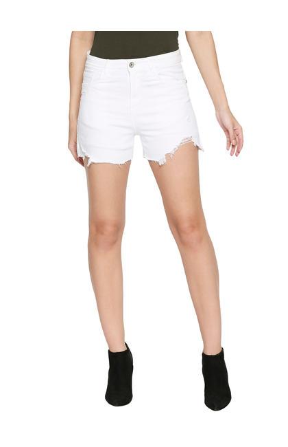 Spykar White Cotton Low Rise Slim Fit Shorts (Slim)