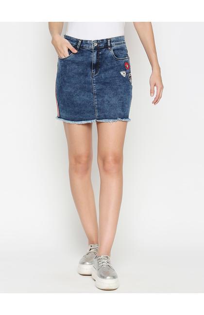 Spykar Blue Cotton Slim Fit Skirts  Skirts (Slim)
