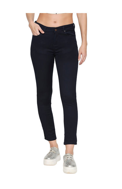 Spykar Blue Cotton Mid Rise Skinny Ankle Length Fit Jeans (Adora)
