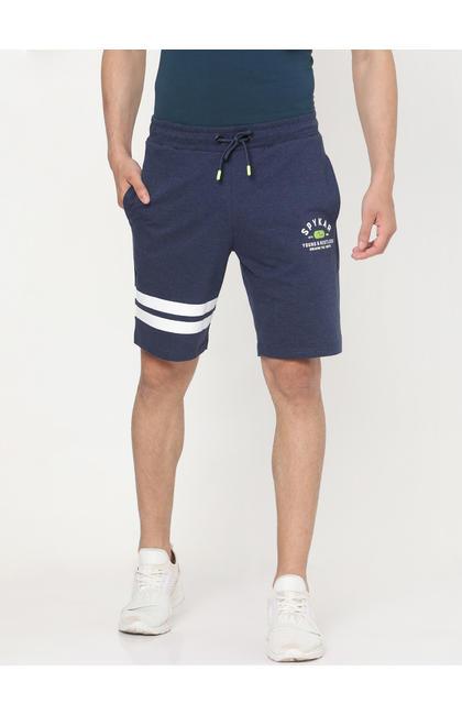 Spykar NAVY BLUE MELANGE Cotton Shorts