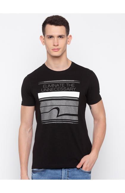Black Printed Slim Fit T-Shirts