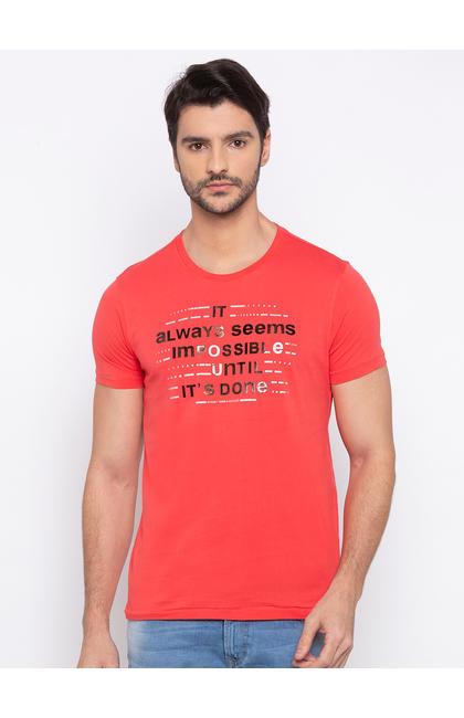 Deep Coral Printed Slim Fit T-Shirts