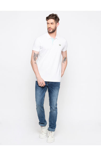 White Solid Polo T-Shirt