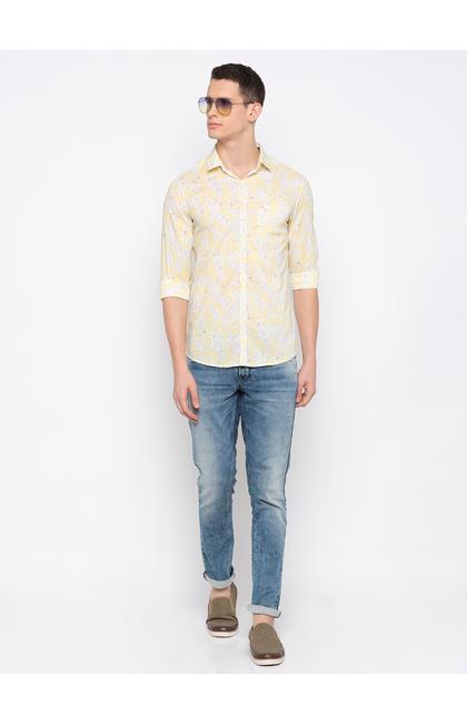 Yellow Printed Casual Shirt