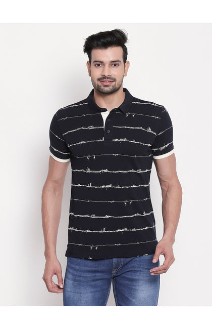 Navy Printed Polo T-shirt