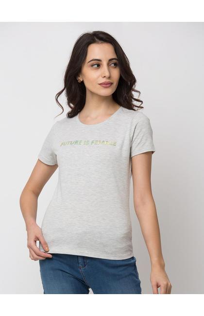 Spykar Cotton Grey T-Shirts