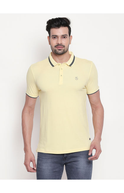 Pastel Yellow Solid Polo T-shirt