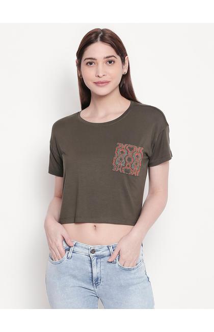 Olive Printed Pocket Crop Fit T-shirt