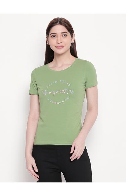 Green Printed Regular Fit T-shirt