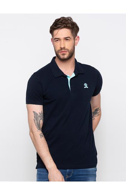 SPYKAR Navy Cotton Slim Fit T SHIRTS