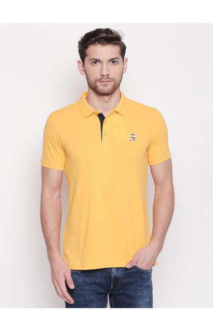 SPYKAR Yellow Cotton Slim Fit T SHIRTS