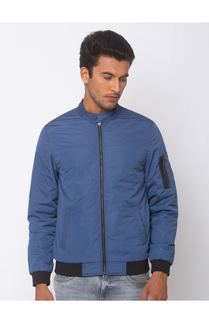 SPYKAR Airforce Blue POLYESTER STRAIGHT FIT JACKETS