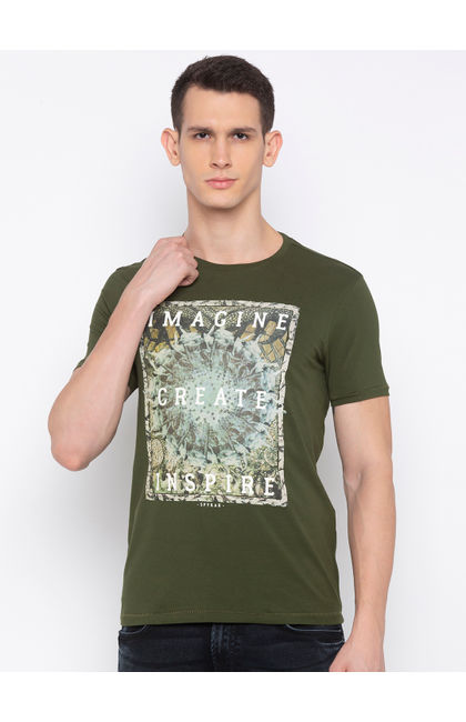 SPYKAR Olive Blended Slim Fit T SHIRTS