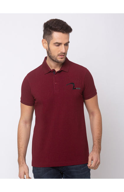 SPYKAR Wine COTTON SLIM FIT T-SHIRTS