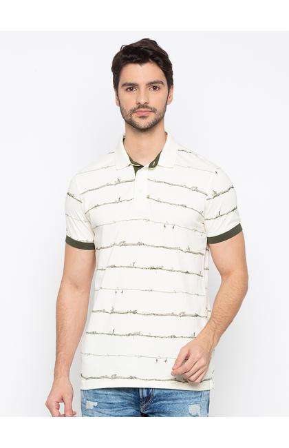 SPYKAR Ecru Cotton Slim Fit T-SHIRTS
